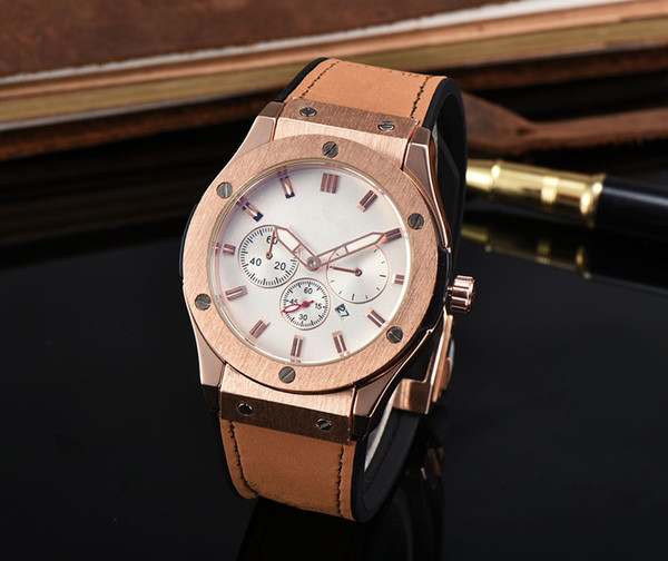 2017 All the dials work latest version of the leather strap fashion high quality clock HOT men's watch casual leisure3