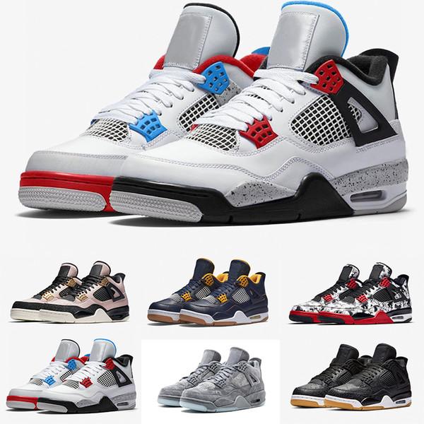 Ne Mens 4 4s Basketbol Ayakkabı FIBA Mantar Yıldırım SİYAH GUM Yeni BRED Cactus Jack Erkek Spor Sneakers Tasarımcı Ayakkabı ABD 7-13