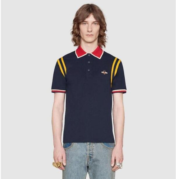 vogue High Quality Men's Polo shirts Business men brands Polo Shirts bee embroidery Turn-down collar mens Tops&Tees
