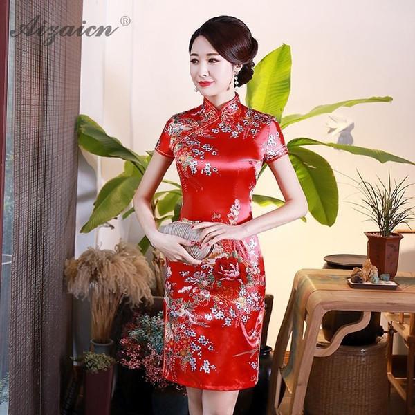 2019 Mini Cheongsam Chinese Traditional Dress Qipao Silks Satin Printing Daily Mom Vintage Dress Oriental Style Dresses Cheap