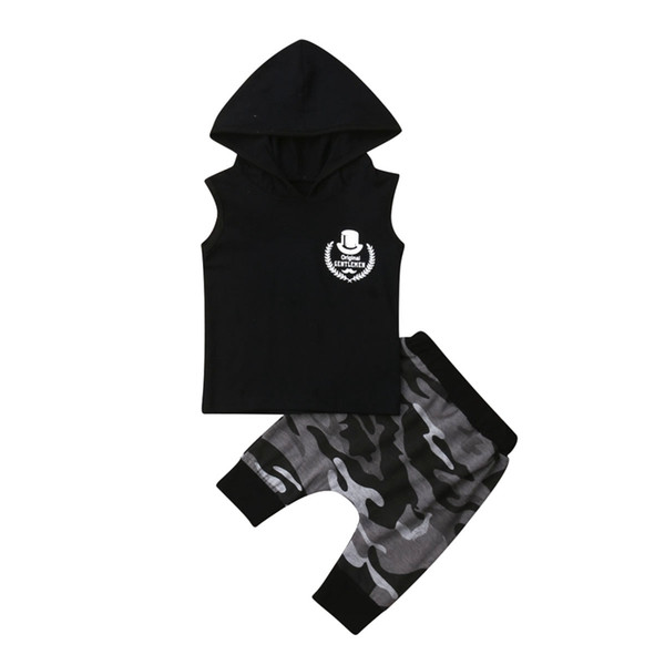 0-4t toddler baby kid boys sleeveless black hoodie camo pants outfits set clothes thumbnail