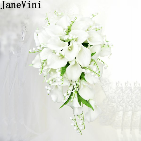 JaneVini White Waterfall Wedding Bouquet Artificial Calla Lily of the Valley Blue Flowers Bridal Support Bouquets Brooch Flores Novia 2019