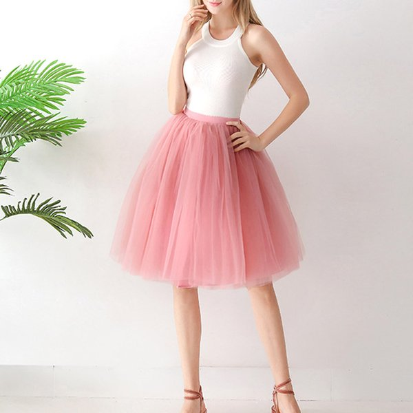 women tulle skirts solid color ruffled simple pleated skirt for prom party -mx8