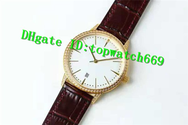 New Luxury Watch PATRIMONY 81530 Uhr 2450 Automatikuhrwerk Saphirglas Diamant Lünette 18 Karat Gelbgold Lederband Herrenuhr