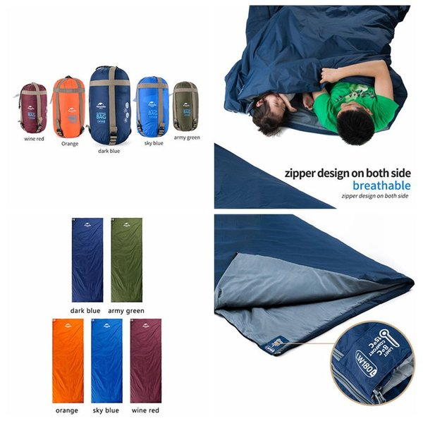 5 Colors 190*75cm Outdoor Portable Envelope Sleeping Bags Travel Bag Hiking Camping Equipment Outdoor Gear Bedding Supplies CCA11712-C 20pcs