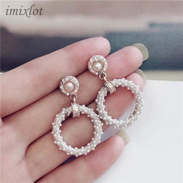 Coréenne Nouvelle Chaude À La Mode Ronde Simulée Perle Boucle D'oreille Femme Mode Bijoux Simple Petit Boucles D'oreilles