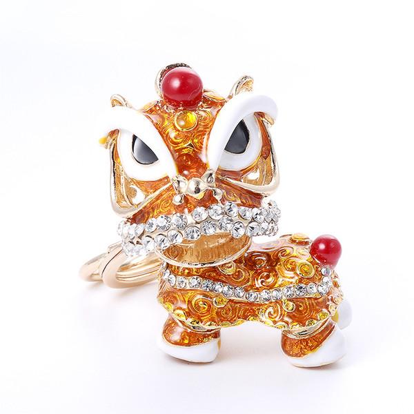 Hys05 Chino Tradicional Colorido Interesante Fancy Lion Llavero de la Danza de China Town Feliz Año Nuevo Regalo Bolsa de Fiesta Bolso Encanto Llavero Anillo