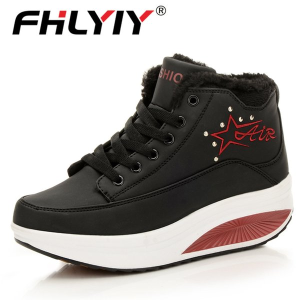 Fhlyiy Brand Women Leather Shoes Comfortable Flats Platform Shoes Outdoor Walking Sneakers Winter Fashion Plush Warm Ankle