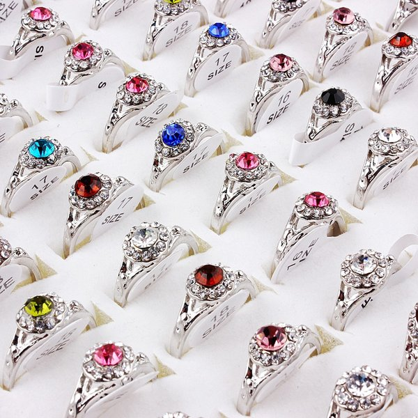Top Quality Advanced Diverse Alloy Gold-Plated Rhinestone Ring New Mixed 50Pcs Man And Woman Charm Luster Rings Free Shipping 6-9