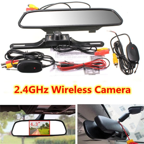 "Freeshipping Wireless Reverse Car Rear View Camera 4.3"" TFT Rearview Mirror Monitor HD Video Parking LED Night Vision CCD Backup Cameras Kit"