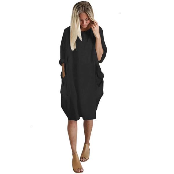 plus size womens dress autumn winter womens fashion pocket loose dress ladies solid crew neck casual long  dress vestido