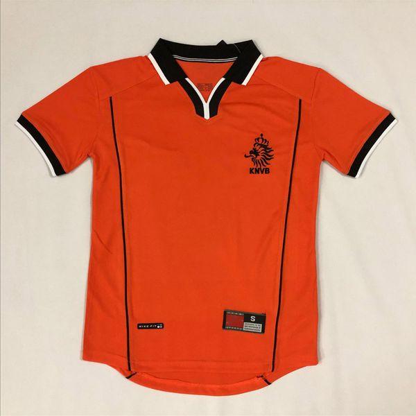 Holanda 98 Camisola Retro 98 BERGKAMP DAVIDS OVERMARS VAN BASTEN GULLIT camisola de futebol kit Top MEN e KIDS socce