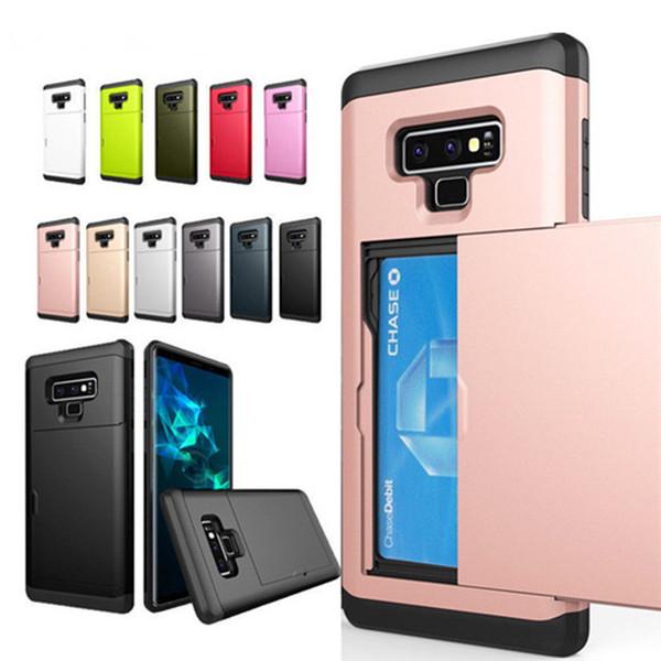 Slayt Gizli Kredi Kartı Tutucu Telefon Kılıfı Için Samsung Galaxy S8 S9 S10 Artı S6 Not 9 8 J S7 kenar Zırh Cüzdan Kılıfları Aksesuarla
