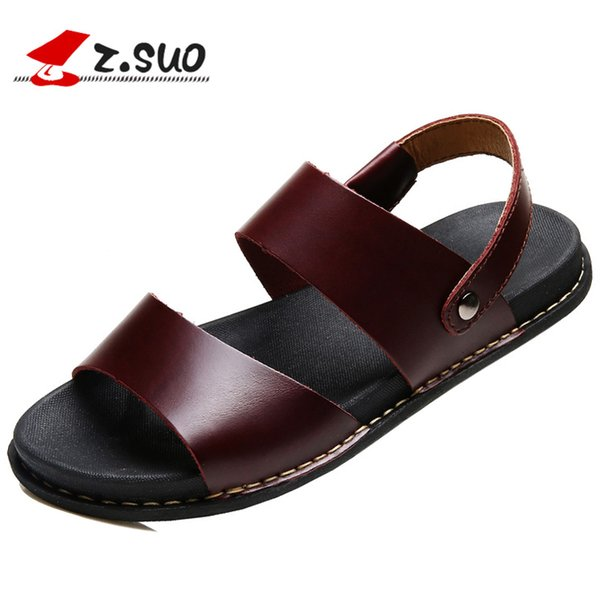 Z.SUO ZS16515 New Fashion Slip On Style Genuine Leather Men's Sandals Manual Stitching Solid Color Summer Man Sandal Shoes