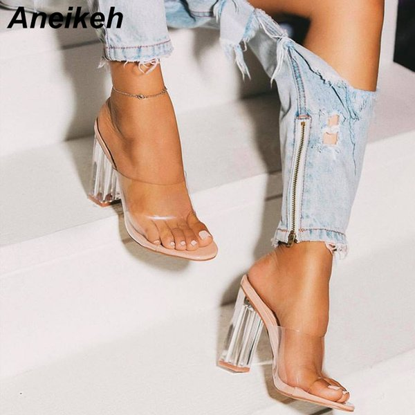 Aneikeh 2019 New Pvc Jelly Sandals Crystal Open Toed Sexy Thin Heels Crystal Women Transparent Heel Sandals Slippers Pumps MX190727