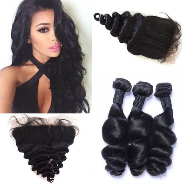 Peruvian Loose Wave Hair Bundles for 3Pcs Human Hair Weaves Loose Wave Silk Base Frontal Closure FDSHINE