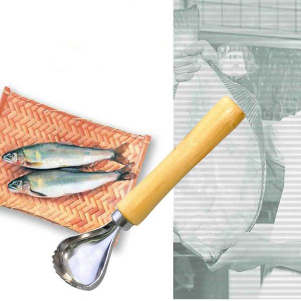 Cuchilla de afeitar de pescado de acero inoxidable con mango de madera Cuchillo de limpieza de pescado Rascador de pescado Accesorios de cocina Herramienta de mariscos LX1616