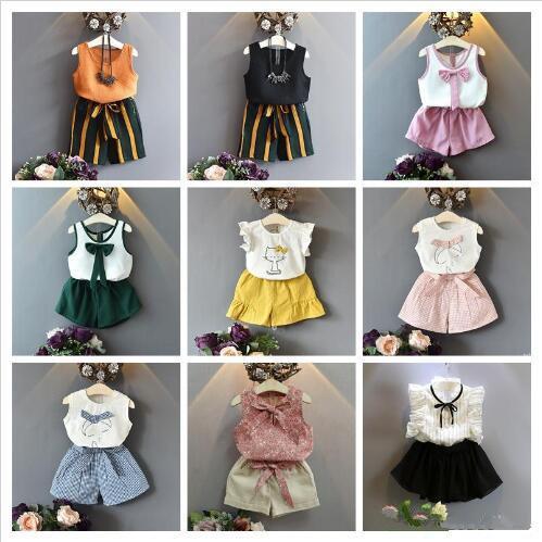 Kids Designer Clothes Chiffon Cotton T-shirt Tops Shorts Pants Skirts 2pcs Set Children boutiques Clothes Fashion Summer Girl Outfits LT1031