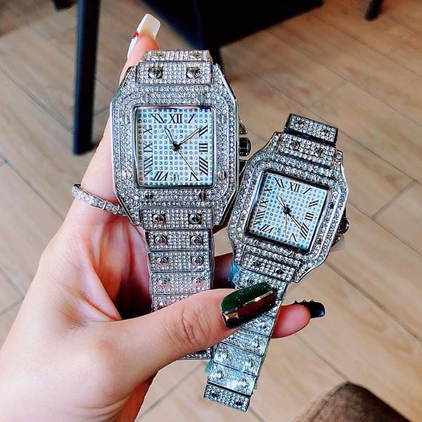 Montre militaire de diamants de luxe Homme Femme Couple quartz Lovers Nice watch cadran carré mode de haute qualité de Nice Lovers montre prix de gros