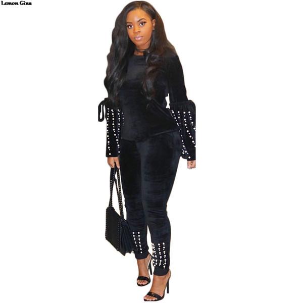 Toptan kadınlar 2019 kadife inciler boncuk flare uzun kollu o-boyun üst sıska kalem pantolon iki parçalı set kıyafet A6091 suits