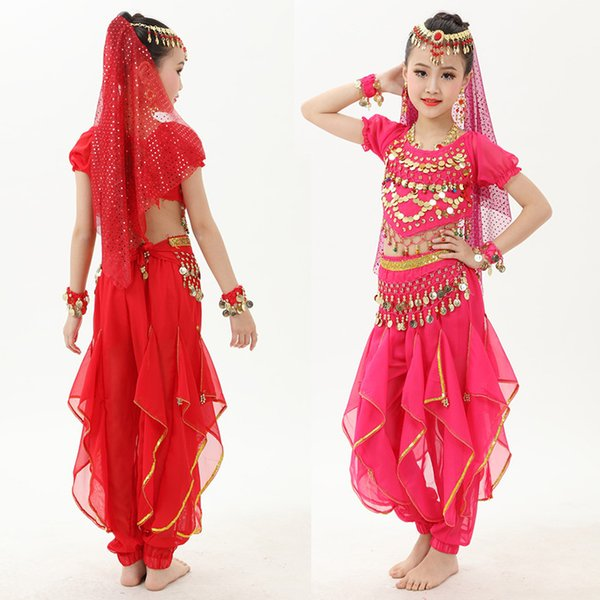 Belly Dance Costume Set Girls Short Sleeve Bollywood Dancing Clothes Children Indian Bellydance Performance Costumes S-L DC1382