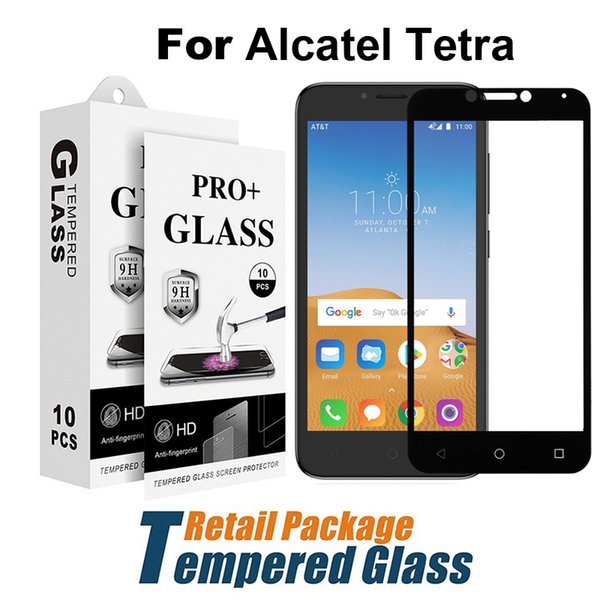 For LG V40 X Power 3 Black Screen Protector Samsung A6 2018 J2 Core J260  Alcatel Tetra 5041 Full Cover Tempered Glass Film Screen Protector Screen