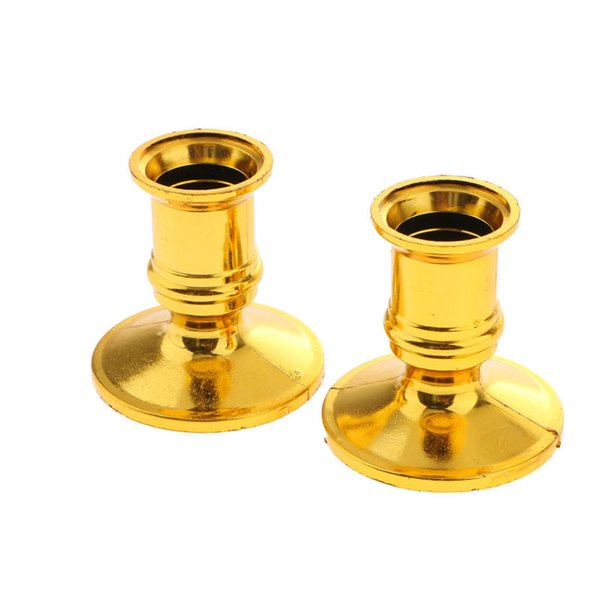 2pcs/lot Taper Candle Holders Traditional Shape Candle Stand Candlestick Fits Candlestick Gold Vintage free shiping