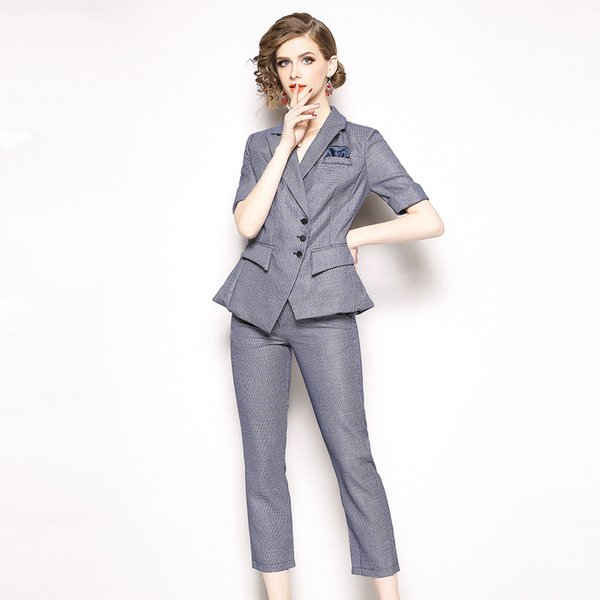 Work Fashion Pant Suits 2 Piece Set for Women Blazer Jacket & Trouser Office Lady Suit Feminino 2019