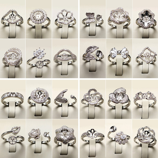 best selling DIY Pearl Rings Setting Silver Rings Zircon Ring for Women Fashion Jewelry Ring Fine Jewelry Adjustable Valentine's Day Gift
