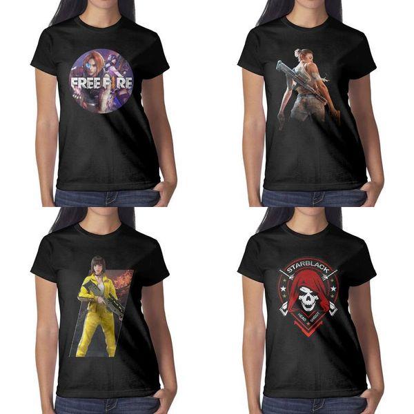 Impresión de diseño para mujer Free Fire starblack head shoot camiseta negra camiseta de banda de diseñador gráfico divertido camisa retro pistola deportiva novedad