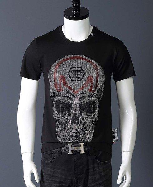 L'Europe et le T-shirt à manches courtes marque de la marée aux Etats-Unis les hommes de crâne strass chaud personnalité tendance des jeunes