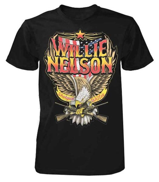 Willie Nelson Av Tüfeği Willie Tişört Tee Rock n Roll Bantları Tur Ülke ZRWN1011 O-Boyun T Gömlek, Rahat O-Boyun, Baskı Tops t shirt Erkekler