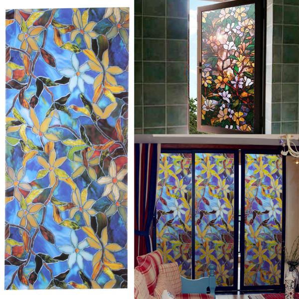 45x100cm Autocollant De Fenêtre Magnolia Intimité Fleur Autocollant Fenêtre Film Film Vitrail Film Fenêtre Décoratif Vitrail