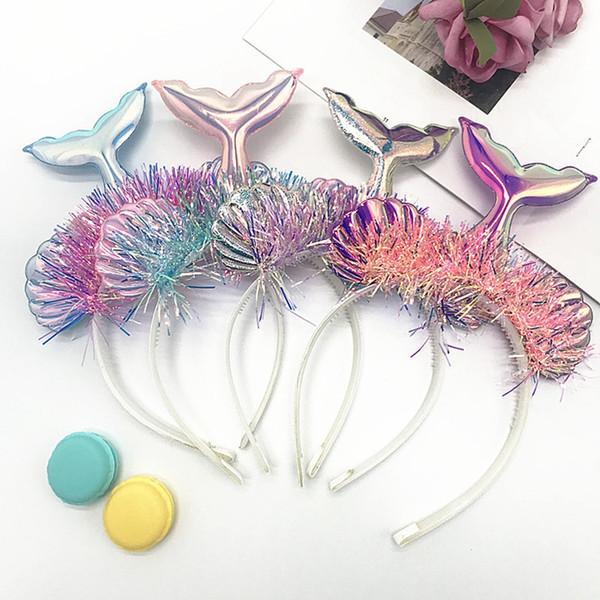 Linda chica de la sirena de la cola de la venda de moda los niños concha láser Paillette Hair Sticks Kids Party Hair Accesorio Festival Regalo TTA962