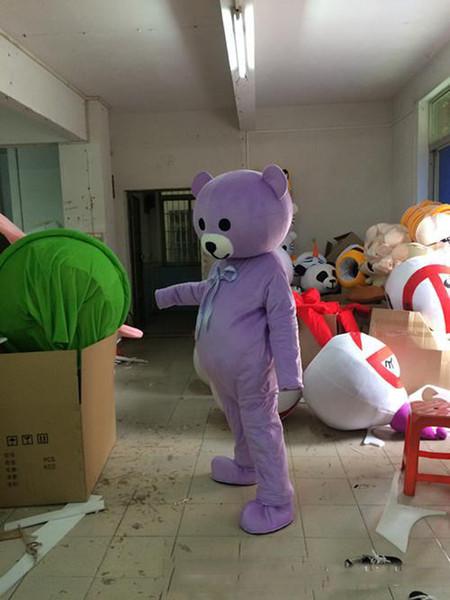 Professionale grande orso viola costume della mascotte carino fabbrica di abbigliamento del fumetto personalizzato personalizzato puntelli personalizzati bambole a piedi vestiti della bambola
