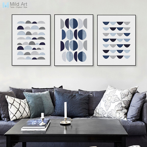 ome Decor Painting Calligraphy Modern Abstract Blue Geometric Shape A4 Art Print Poster Minimalist Hipster Wall Art Picture Nordic Home D...