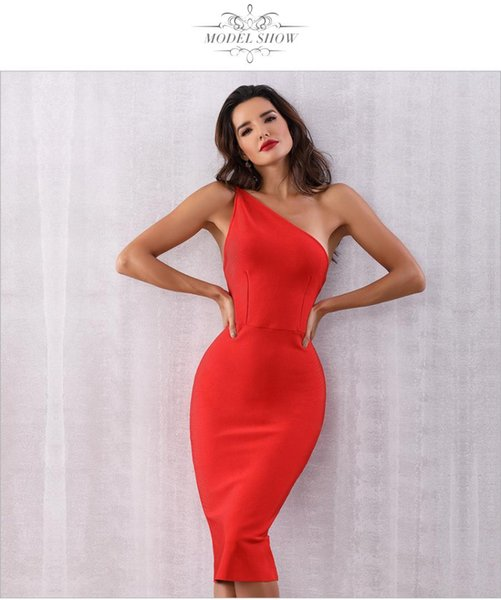 9c35d2ab1d 2019 Women Bandage New Arrival 2019 Summer Celebrity Party Dress Vestidos  Sexy Red One Shoulder Backless Sleeveless Dress + Suit From Sideceam,  $66.99 ...
