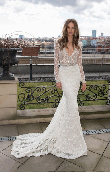 Long Sleeve Berta Mermaid Wedding Dresses Full Lace Crystal Backless Vestido De Noiva Bridal Gowns Sexy Deep V Neck Robe De Mariee