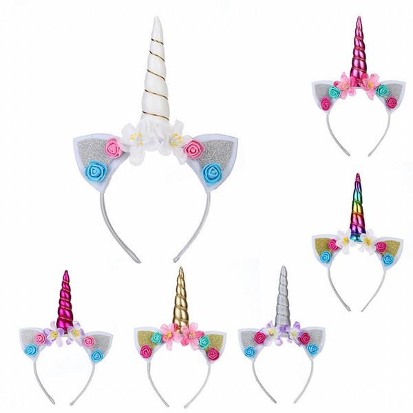 Çocuklar Kız Bebek Unicorn Boynuz Kafa Bandı Saç Bandı Aksesuarları Şapkalar Baş Şal Yeni Kızlar Sevimli Unicorn Çiçek Kedi Kulaklar Bantlar