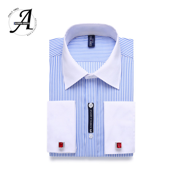 9XL 7XL 6XL Striped Men French Cufflinks Casual Dress Shirt Long Sleeved White Collar Design Style Mens French Cuff Dress Shirts
