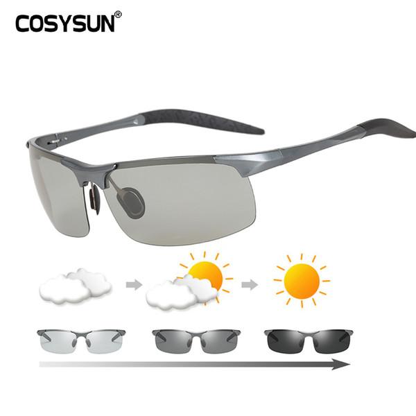 Brand Photochromic Glasses Men Aluminium Magnesium Driving Sunglasses Men Polarized Chamelen Goggles For Car Driving Anti-glare