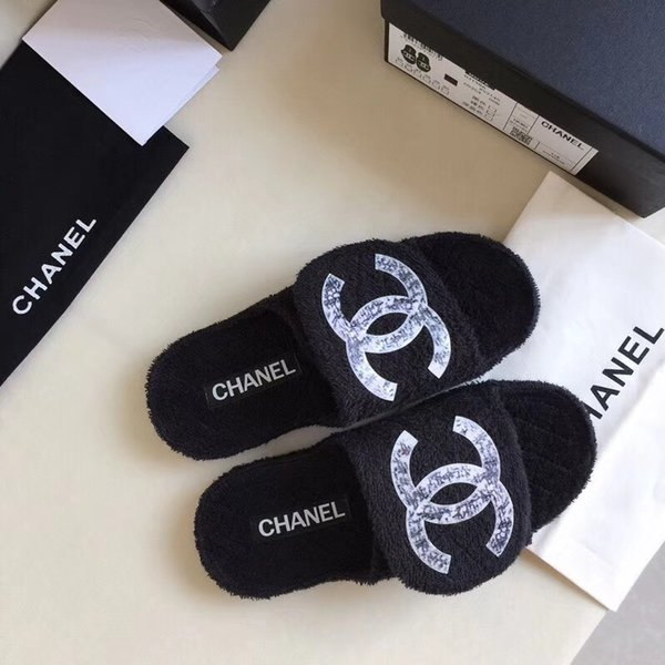 Hot SALE Designer Womens Luxury C Slippers Blue Black Fur Leather Summer Sandals Female Brand Slipper Fashion Casual Flip Flops With Box