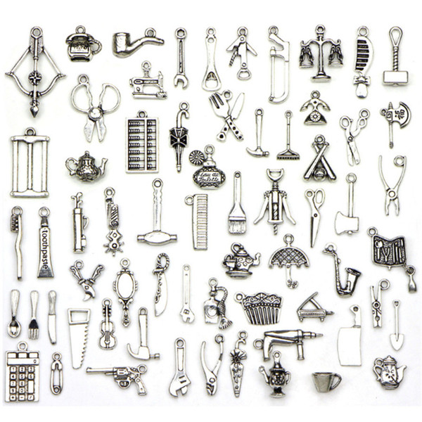 65pcs/lot new Living tools Ancient silver charms for handmade bracelet earring pendant jewelry making accessories material