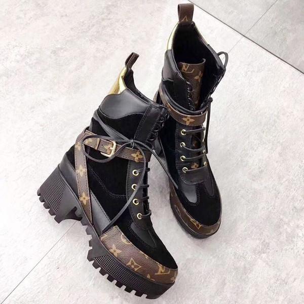 1ab0d9daf Женские сапоги из натуральной кожи коренастый женская обувь свободного  покроя лауреат платформы пустыни ботинок ботинки женские