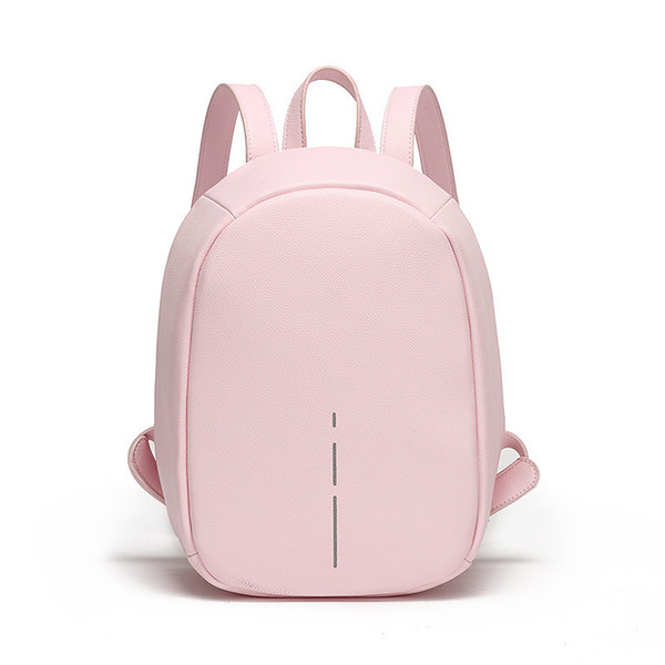 Anti Theft Backpack Women Daily Reflective Stripe High Quality Pu Leather Backpack Small Lady School Bagpack For Female Y19061102