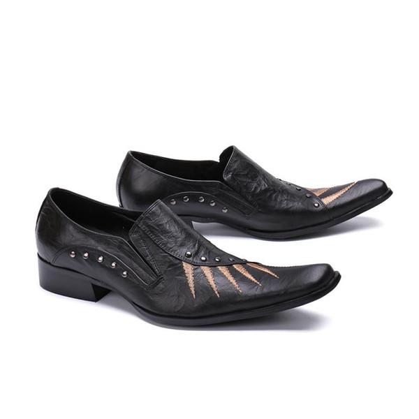 scarpe con punta quadrata in vera pelle stampa business brogue scarpe eleganti nere in stile coreano