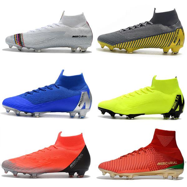 Botas de fútbol de tobillo para hombre LVL UP Zapatillas de fútbol Superfly 6 Elite FG CR7 Mercurial Superfly VI 360 Neymar NJR ACC Botines de fútbol