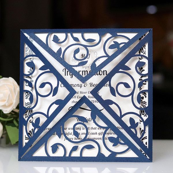 2019 New Wedding Invitation Card Hollow Envelope High Quality Invitations Pocket Girdle Square Laser Cut Invitations Cards Wording For Wedding