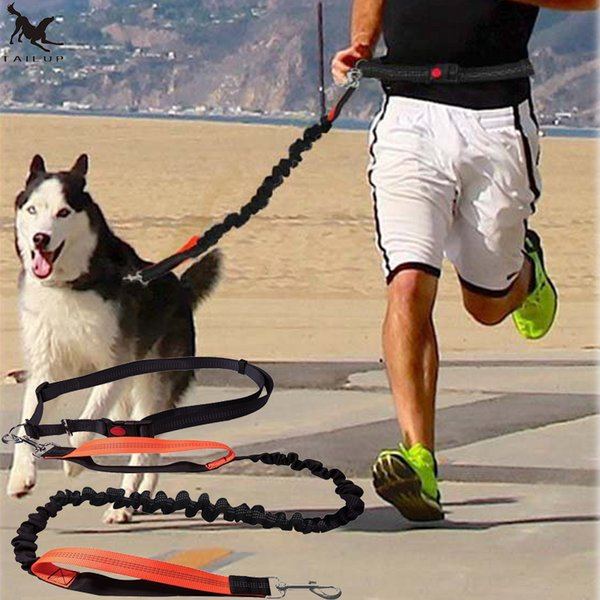 Dogs Leash Running Elasticity Hand Freely Pet Products Dogs Harness Collar Jogging Lead and Adjustable Waist Rope