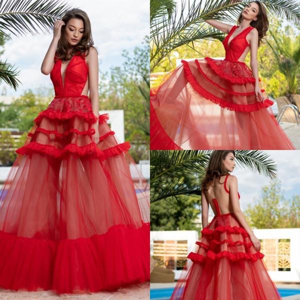 Cristallini красные вечерние платья Глубокий V-образным вырезом без рукавов кружевные аппликации платья выпускного вечера 2019 Дешевые на заказ линии платья для особых случаев